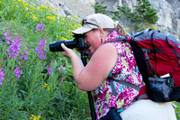 hiker photographing fireweed wild flowers