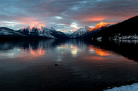 alpenglow on Stanton Mountain, Mount Vaught, Mount Grown and Little Matterhorn - viewed from the foot of Lake McDonald - Glacier National Park