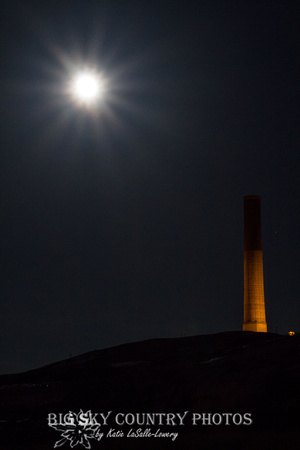 A spring full moon over the Anaconda Smokestack