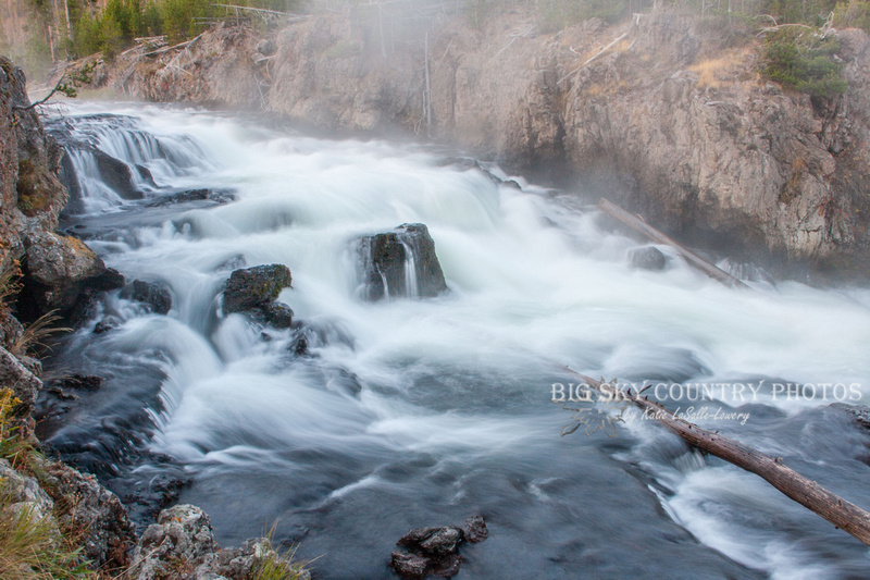 This lovely cascade is upriver of Firehole Falls, near where Firehole Lake Drive means the main Great Loop - Yellowstone National Park
