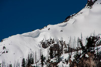 snow cornices ready for avalanche
