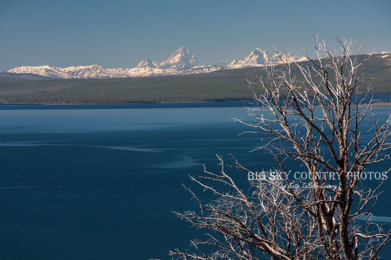 Teton Range as viewed over Yellowstone Lake from Lake Butte Overlook on a clear day